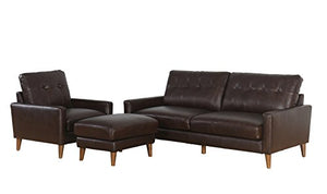 Abbyson Elizabeth Mid Century Top Grain Leather Seatomg Set, Brown