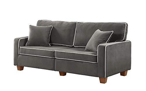 Divano Roma Furniture Collection - Modern Two Tone Velvet Fabric Living Room Love Seat Sofa (Dark Grey)