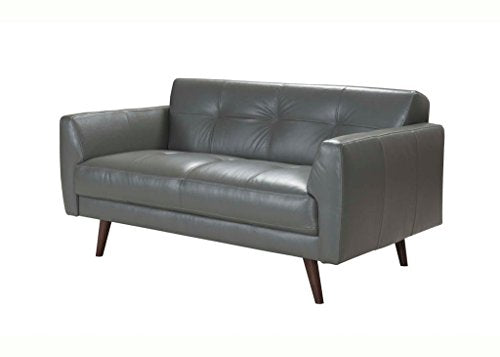 Acme Adda Loveseat, Gray Leather Gray Leather/-