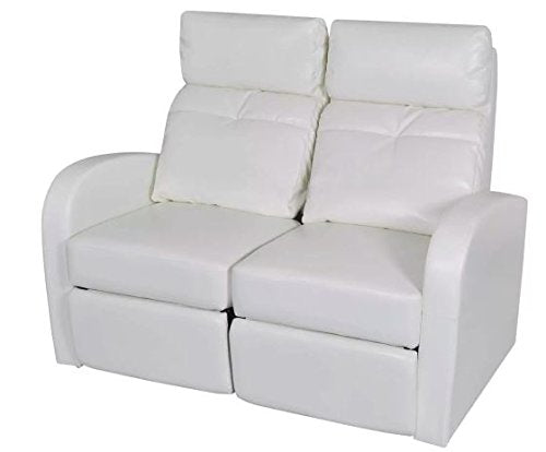 "New White 2-Seater 50.4"" x 33.5"" x 40.6"" Wooden Frame Artificial Leather Upholstery Home Cinema Recliner Reclining Sofa SKB Family"