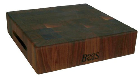 "John Boos Walnut Wood End Grain Reversible Butcher Block Cutting Board, 18"" x 18"" x 3 Inches"