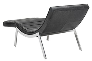 "Sunpan Modern Benedict Leather Chaise, 67"" x 29.5"", Profundo Black"