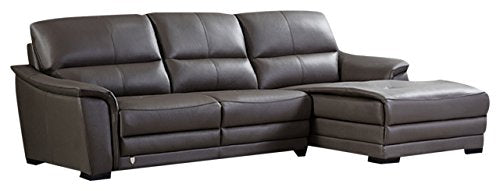 American Eagle Furniture Chandler Collection Contemporary Italian Top Grain Leather Living Room Sectional Sofa and Chaise on Right With Pillow Top Armrests and Tufting, Taupe