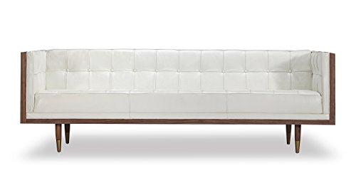 Kardiel Woodrow Midcentury Modern Box Sofa, White Aniline Leather/Walnut