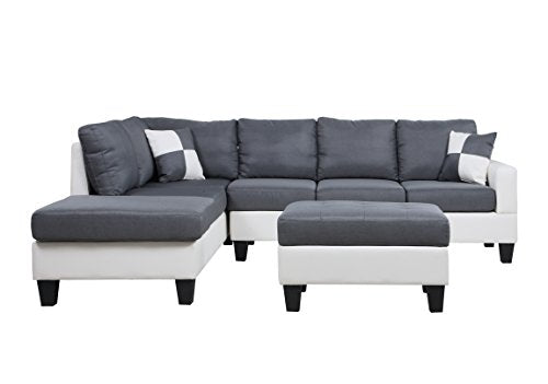 Classic Two Tone Large Linen Fabric and Bonded Leather Living Room Sectional Sofa (White/Dark Grey)