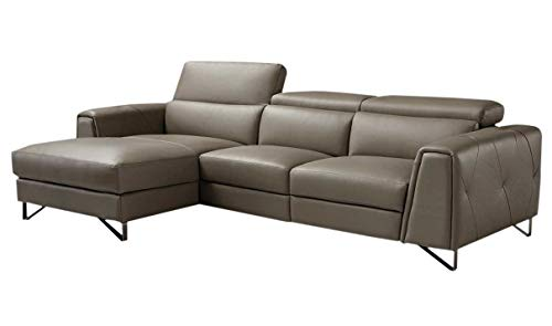 Magic Reclining Leather Left Hand Facing Sectional Sofa in Brown