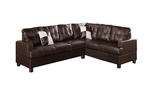 Poundex Bobkona Karen Bonded Leather 2-Piece Reversible Sectional Sofa, Espresso