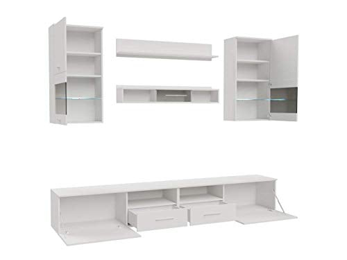 Domovero Kansas Wall Unit for any size TV Contemporary Furniture for Living Room/Entertainment Center with multicolor LED lights system Color oak sonoma & white