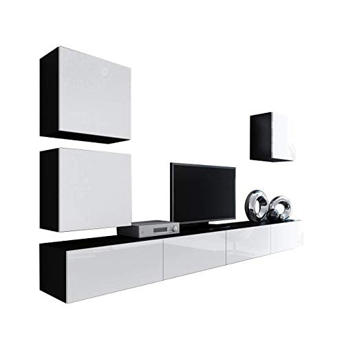 Domadeco Vilado 22 wall mounted tv units modern unique furniture for living room Color (Black & White)