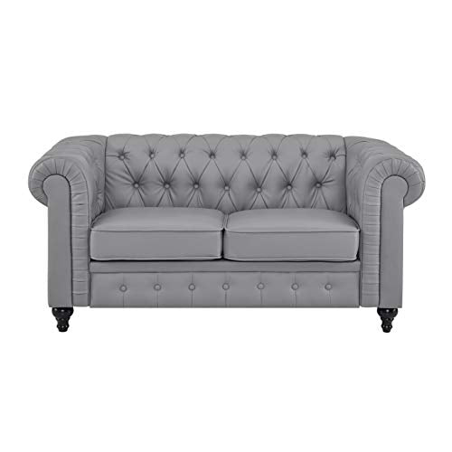 Naomi Home Emery Chesterfield Love Seat with Rolled Arms, Tufted Cushions Gray