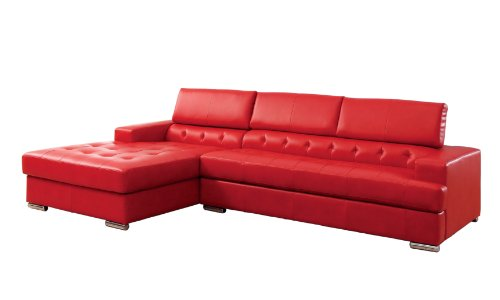 Furniture of America Alair Bonded Leather Sectional Sofa with Adjustable Headrests, Red