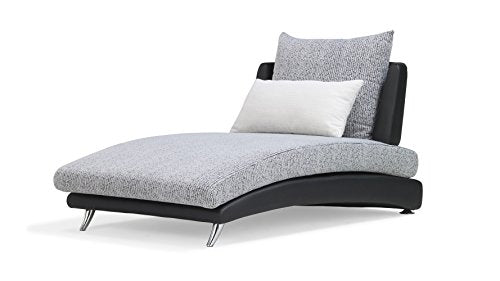 Zuri Furniture Palms Modular Chaise Fabric Cushions Leatherette - Black