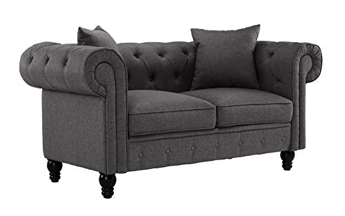Classic Linen Fabric Scroll Arm Tufted Button Chesterfield Style Loveseat Couch (Light Grey)