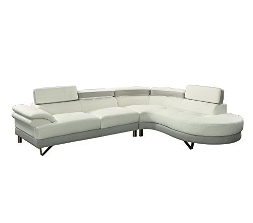 Poundex F6967 Bobkona Isidro Faux Leather sectional, White/Light Grey