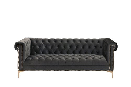 Iconic Home FSA2610-AN Gold/Grey Bea Velvet with Nail head Trim Tone Metal Sofa