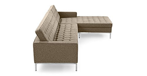Kardiel Florence Knoll Style Right Sectional Sofa, Oatmeal Houndstooth Twill