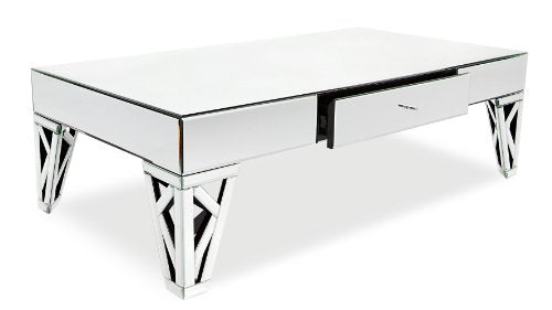 Zuri Furniture Azure Mirrored Glass Coffee Table
