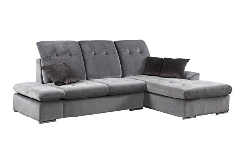 Classic Large Brush Microfiber L-Shape Sectional Sofa Couch with Chaise Lounge and Adjustable Headrest (Grey / Grey)
