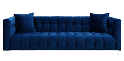 Tov Furniture The Bea Collection Modern Style Velvet Upholstered Living Room Sofa with Lucite Legs, Navy