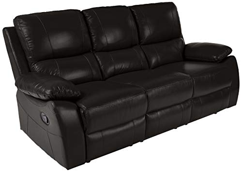 Homelegance Greeley Reclining Sofa Top Grain Leather Match, Black