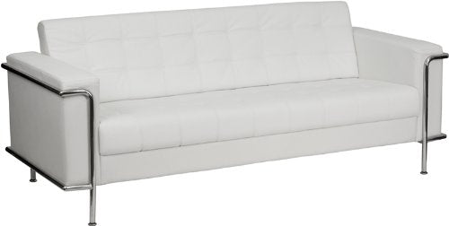 Flash Furniture HERCULES Lesley Series Contemporary Melrose White Leather Sofa with Encasing Frame
