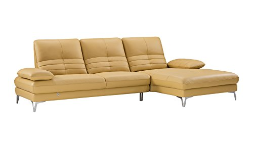 "American Eagle Furniture EK-L070L-YO Brisbane Modern Italian Leather Right Facing Sectional, 115"", Yellow"