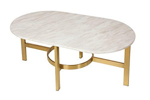 "Design Tree Home Versailles 42"" Marble Top Coffee Table with Stainless Steel Antique Brass/Gold Base"