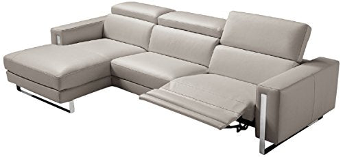 World Mod SL1423LS-WGRY Modern Adriano Sectional, 100% Made in Italy