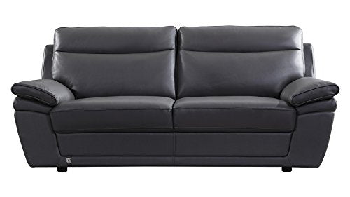 "American Eagle Furniture EK092-GR-SF Irvine Mid-Century Modern Italian Leather Living Room Sofa, 83"", Gray"