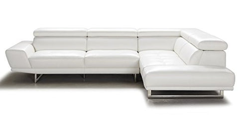 Zuri Furniture Posh White Top Grain Leather Modern Corner Sectional Sofa - Right Chaise