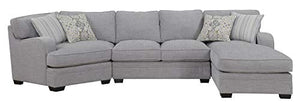 Emerald Home Analiese Linen Gray Chofa Sectional, with Pillows, Track Arms, Welt Seaming, and Block Feet Grey/Standard//Transitional