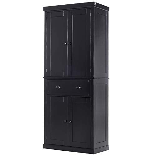 "HOMCOM 72"" Traditional Freestanding Kitchen Cupboard Pantry Cabinet with Elegant Colonial Design, Antique Hardware Black"