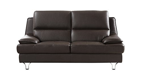 American Eagle Furniture Harrison Collection Genuine Leather Living Room Loveseat with Pillow Top Armrests, Dark Chocolate