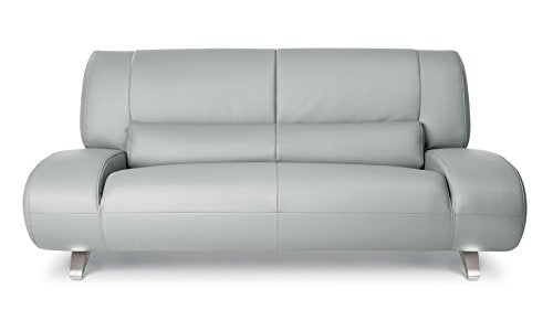 Zuri Furniture Modern Aspen Light Grey Microfiber Leather Loveseat