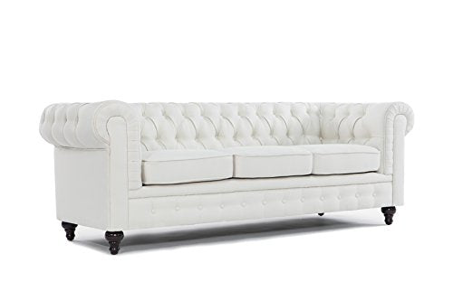 BD Home Furnishings Classic Scroll Arm Button Tufted Chesterfield Style Sofa - Beige
