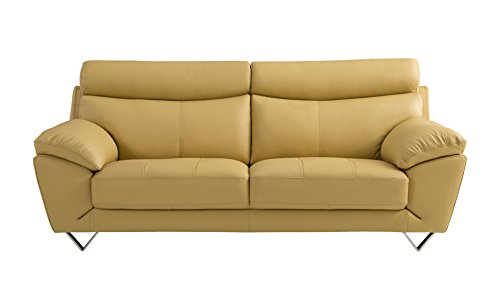 American Eagle Furniture Valencia Collection Italian Grain Leather Living Room Sofa with Pillow Top Armrests, Yellow