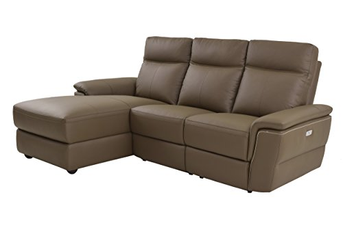 Homelegance Olympia 3 Piece Power Reclining Sectional Sofa with Left Side Chaise & USB Charging Port Top Grain Leather Match, Raisin