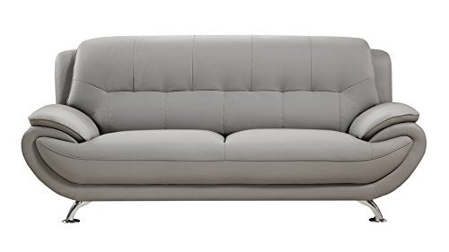 American Eagle Furniture Highland Faux Leather Living Room Sofa with Pillow Top Armrests, Gray