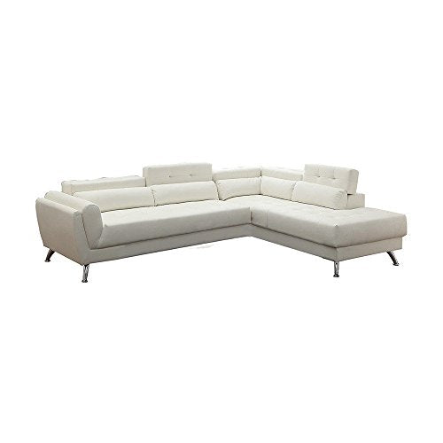 Benzara BM166744 Bonded Leather 2 Piece Sectional in White