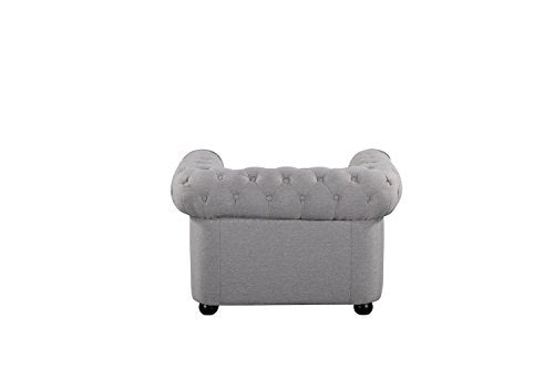 "Velago 19198 Avignon Modern Fabric Armchair, 42"" W, Light Grey"