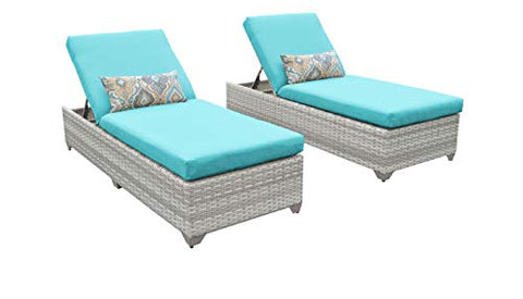 TKC Fairmont Patio Chaise Lounge in Turquoise (Set of 2)