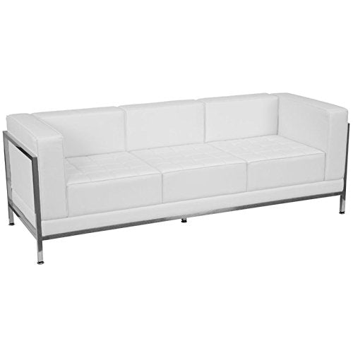 BOWERY HILL Leather Reception Sofa in White