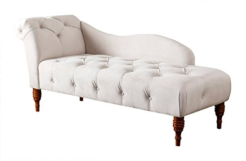Abbyson Hailey Velvet Tufted Chaise, Ivory