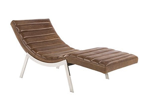 "Sunpan Modern Benedict Leather Chaise, 67"" x 29.5"", Profundo Sepia Brown"