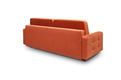 MEBLE FURNITURE & RUGS Vegas Futon Sofa Bed, Queen Sleeper with Storage, Orange