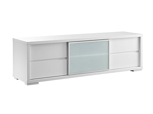 PINETO High Gloss White Lacquer Entertainment Center by Casabianca Home CB-302TV - PINETO High Gloss White Lacquer Entertainment Center by Casabianca Home
