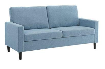 "57"" Loveseat Sleeper with Memory Foam Mattress, Grey, Pocketed Coil Seating, (72.5"" Apartment Sofa, Light Blue)"