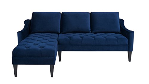 Jennifer Taylor Home Amelie Collection Modern Hand Tufted Accented Reversible Velvet R/L Arm Facing Sectional Sofa with Wooden Legs, Navy Blue
