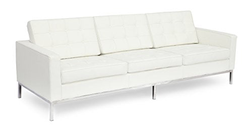 Kardiel Florence Knoll Style Sofa 3 Seat, Cream White Aniline Leather