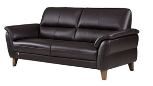 American Eagle Furniture King Collection Living Room Top Grain Italian Leather Sofa, Dark Chocolate